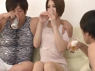 Pretty Asian mature sex is basking in fucking with 2 teenie adorers