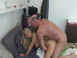 Beautiful blonde with two juicy funbags sucks old comrade's cowboy to have her puss fucked!