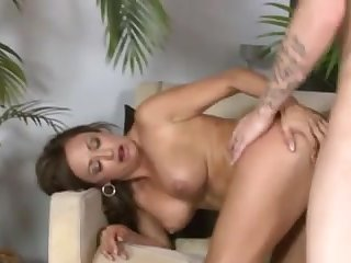 Cute sex-appeal brunette mature is teaching lad to enjoy love