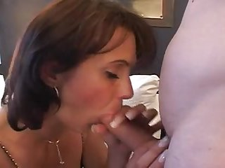 This sexy busty MILF is all into sex and fucking with this chap