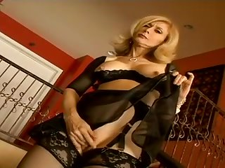 Nina Hartley is a lovely American sex mature, bemusing herself with scout