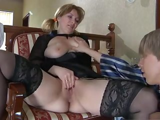Pigtailed Russian redhead bitch in black stockings goes hosed by buddy