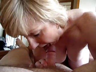 Mature blowjob and cumshot