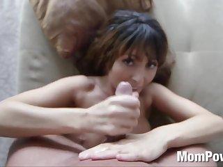 Hot MILF blowjob handjob facial