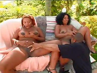 Негр занимается сексом с двумя мулатками